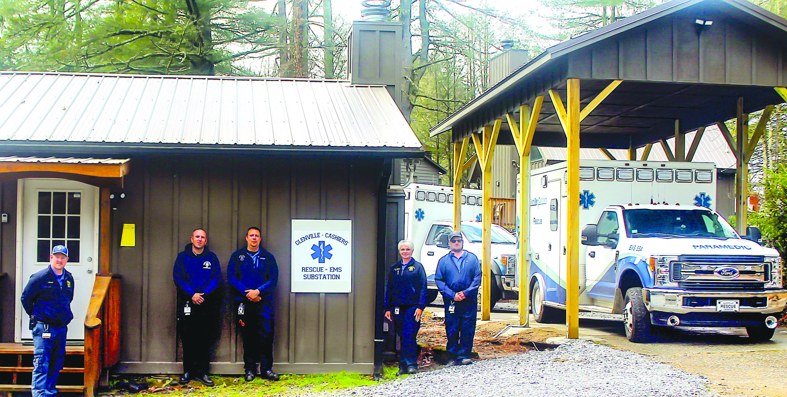 The Glenville-Cashiers Rescue Squad recently began staffing a second, temporary headquarters in Cashiers off US 64, across the street from the site of its new location.