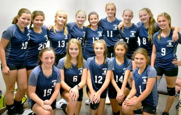 The Summit Charter School 2019-2020 volleyball team includes, front, from left, Anne Elizabeth Woods, Sarah Betty, Anna Johnson, Jazmin Barranco, Sydney Sinclair; and back, same order, Katie Johnson, Keira Matthis, Kaki Dyleski, Catelynn Couch, Christina McDonald, Chloe Crawford, Ashlyn Yaskiewicz, Skylyn Yaskiewicz and Anna Jolley. (Contributed photo.)