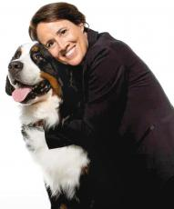 Cashiers Bernese mountain dog Keeper, winner of Best of Breed in this month's National Dog Show, poses for a publicity photo with show commentator Mary Carillo, a former women's pro tennis great.