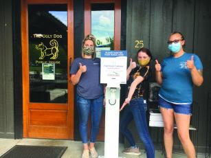 Local restaurants, including the Ugly Dog Pub near the Crossroads, received hand sanitizer stations from a Highlands Cashiers Health Foundation intiative.