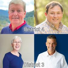 This year's general election features two county commissioners races. District 4 has Democrat Mark Jones, top left, facing Republican Mark Letson. The District 3 race pits Democrat Susan Bogardus, bottom left, against Republican Tom Stribling.