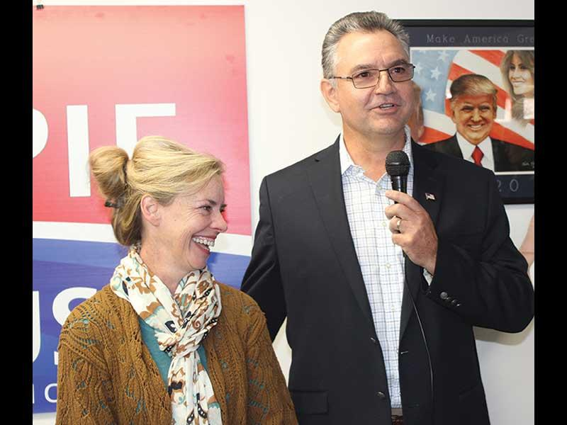 Jake Browning/Franklin Press - Karl Gillespie is joined by his wife, Janet, at Saturday's announcement in Franklin.